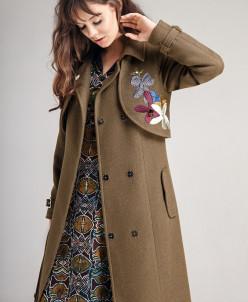Р1180 пальто   Цвет: оливковый