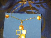 Комплект серьги и цепочка с кулоном новый