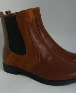 Ботинки Челси (комбинированная рыжая кожа с замшей)