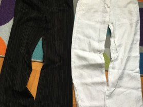Брюки две пары черные и белые пакетом 42 размер