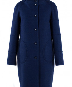 02-1356 Пальто женское утепленное Валяная шерсть Электрик