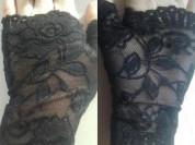 Перчатки митенки кружева гипюр стрейч женские короткие чёрные вечерние аксессуары