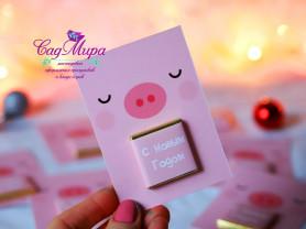 Мини-открытка Свинка с шоколадом