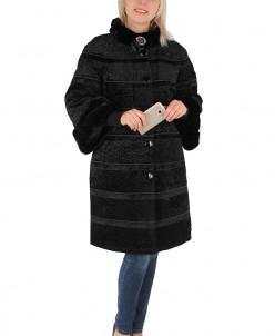 Пальто утепленное Искусственный каракуль Черный