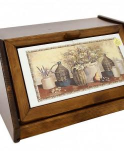 Деревянная хлебница с керамическими вставками Натюрморт