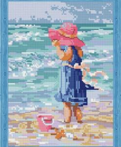 Девочка в розовой шляпе - алмазная мозаика