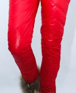Женские зимние узкие стеганные брюки