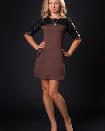Платье № 879-коричневый