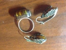 серьги и кольцо серебро женские
