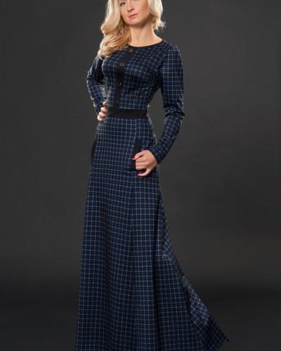 Платье № 881-синяя клетка