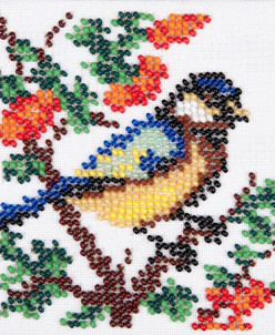 "Набор для вышивания бисером LOUISE арт. L436 ""Синичка"" 11х11"
