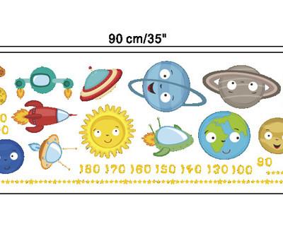 Наклейка-ростомер многоразовая «Планеты»
