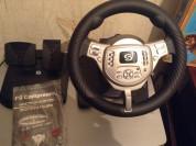 ps2 в хорошем состоянии + руль с педалью и с играми