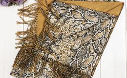 Палантин рептилия шерсть - кашемир 110-65см