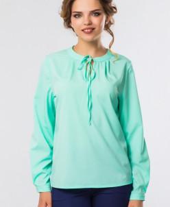 Мятная блузка на стойке с завязками