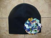 Новая темно-синяя шапочка с цветком на ог 48-50.