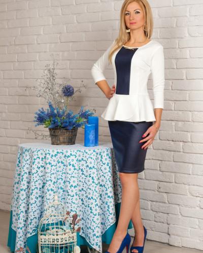 Платье № 840-т.синий