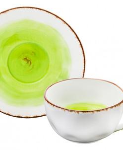 """Чайн. пара 2 пр. 250 мл 13*9,5*5,5 см """"Кантри"""" зеленая"""
