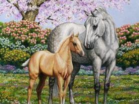Картины по номерам GX 4225 Весенние лошади