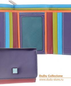 Кошелек кожаный DuDu серии Pemba | фиолетовый пэчворк