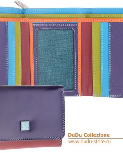 Кошелек кожаный DuDu серии Pemba   фиолетовый пэчворк