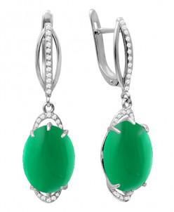Серьги из серебра с зеленым агатом и фианитами родированные