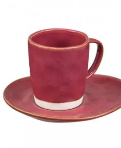 Чашка для эспрессо LIVING, с блюдцем, красный