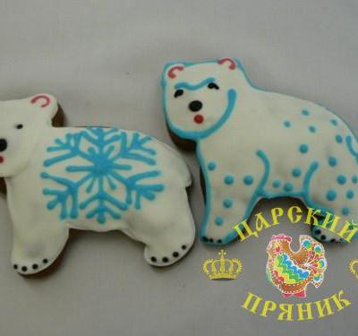 113 Пряник  «Медвежонок белый» 120х100 мм