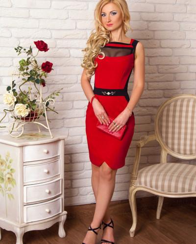 Платье № 856-красный