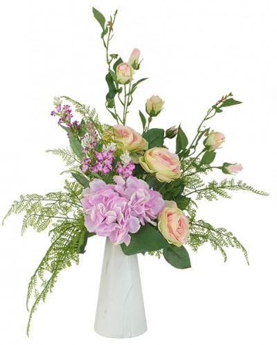 Декоративные цветы Букет розы и гортензии в керамической ваз
