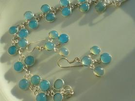 серьги + браслет набор серебро с халцедонами