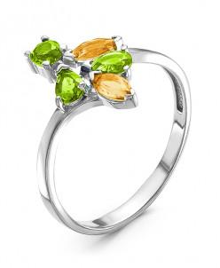 Кольцо из серебра с желтыми и зелеными кварцами родированное