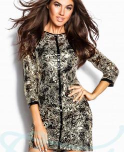Блестящее золотистое платье Gepur