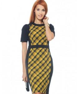 Платье поливискозное темно-синее в желтую клеточку