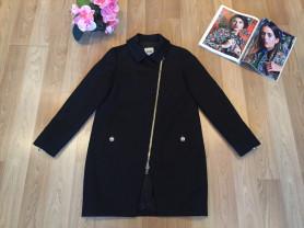 Стильное женское чёрное пальто на молнии Moschino Cheapandchic (оригинал)