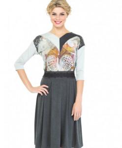 Платье трикотажное с бабочкой