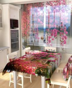 Тюль для кухни Цветы в китайском парке