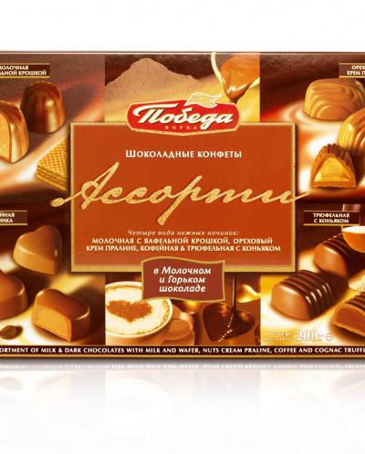 Подарочная коробка Конфеты шоколадные с кофейной, коньячной