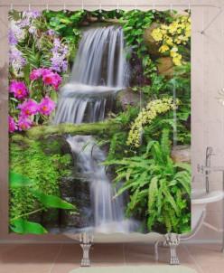 Фотоштора для ванной Лесной ручей