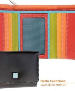 Кошелек кожаный DuDu серии Pemba | черный пэчворк