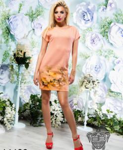 Льняное платье с принтом - 14466