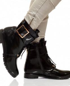 Женские лаковые ботинки на шнуровке (байка/экомех)