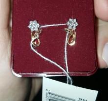 Золотые серьги с бриллиантами, 585 проба. НОВЫЕ.