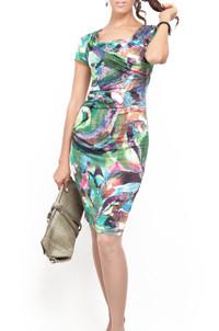 Платье трикотажное с инжекторным рисунком