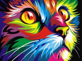 Картины по номерам GX 4228 Радужный кот