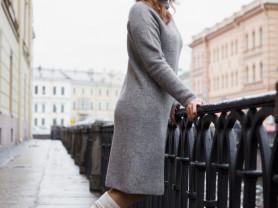 Платье-водолазка с горлом 100% шерсть яка