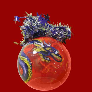 """Шар """"Рождественский""""(Фиолетовый Дракон), диаметр 95мм, арт."""