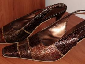 Босоножки коричневые кожзам р.37 стелька 24.5 см