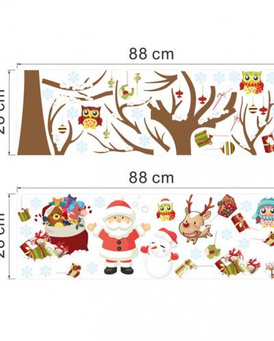 Интерьерная многоразовая наклейка «Дерево, совята, Дед Мороз