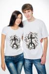 Парные футболки белые с рисунком «Этно Он и Она»